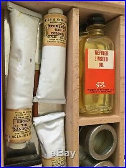Rare Winsor & Newton Paint Box Set 50s 60s Students Oil Colours Wooden Palette