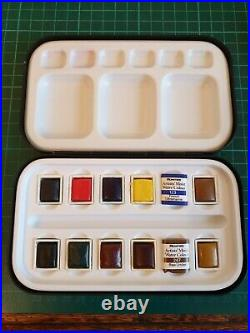 Rowney Artists Watercolour Sketch Box 12 Pans Vintage