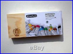 SCHMINCKE HKS Designer's Gouache (Opaque Watercolor) Tube Paint Set in Wood Box