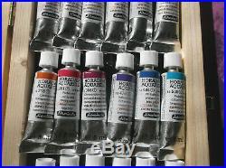 SCHMINCKE HORADAM Watercolor 18 Tube Set Transparent Secondary Earths Wood Box