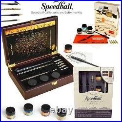 SPEEDBALL Drawing Calligraphy Lettering Kits Pens Inks Textbook Art Craft Set