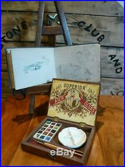 SUPERB antique REEVES Artists Watercolour paintbox circa 1920's with sketch book