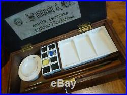 SUPERB antique ROWNEY & Co Artists Watercolour paintbox 1920's with sketch book