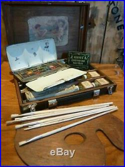 SUPERB antique ROWNEY & Co Artists Watercolour paintbox early 1900's + contents