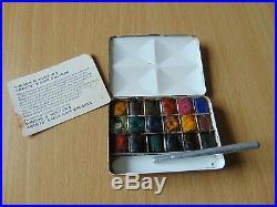 Scarce Vintage Winsor & Newton Bijou #3 Miniature Artist Art Tin Paint Box