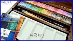 Sennelier Extra Fine Watercolors Luxury 24 Watercolor Half-Pan Walnut Box Set