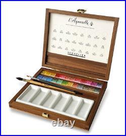 Sennelier Luxury Artist's Watercolour Set of 24 Half Pans in Wooden Box