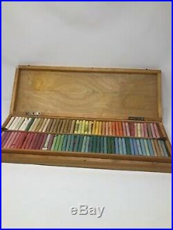 Set of 185 vintage Yarka Handmade Artist's Pastels in the 2-tray wooden box
