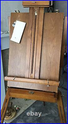 Tripod Folding French Wooden Easel with Sketch Box Painting Drawing With Paints
