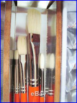 Utrecht Deluxe Oil Paint Artists' Wood Box & Easel Set with Palette Brushes Cups +