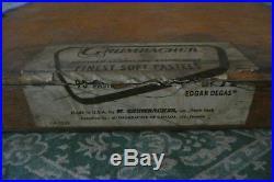 VINTAGE SET 90 asst. Soft Pastels M GRUMBACHER Wood Box Edgar Degas Set