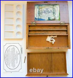 VINTAGE replica of Antique ROWNEY wooden watercolour box with porcelain palette