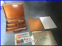 Vintage ART SUPPLY STORAGE case box with extras