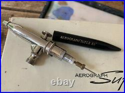 Vintage Aerograph airbrush Super 63 in lovely cond. With box, case and test cert