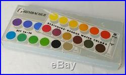 Vintage GRUMBACHER GERMANY Opaque Water Color Set 26-26 In BOX Used Once