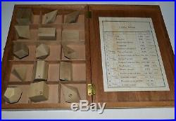 Vintage Geometric Crystal Shapes Desk Models Display Cubist Wood Blocks 15 Boxed