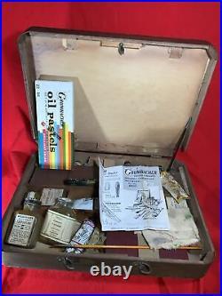 Vintage Grumbacher Artist's Wood Box Case with Pastels, Paint, Brushes etc. Lot