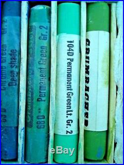 Vintage Grumbacher Soft Pastel Set #9 Finest Colors 131/132 Sticks In Oak Box