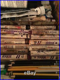 Vintage Jullian Full Box French Easel Utrecht Used Art Supplies Oil Paint Lot