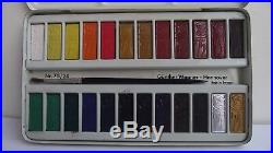 Vintage Pelikan Watercolor Paint Metal Box and 70s Germany 75 / 24pieces