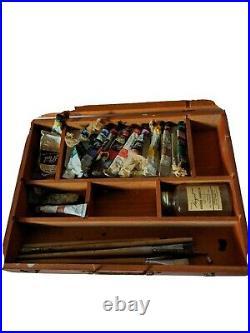 Vintage Sargent Artist's Plein Air Travel Paint Box Oils Kit Wooden Case