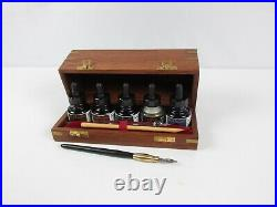Vintage Sennelier Deluxe Calligraphy Set with Bamboo NIB Pen & Beautiful Wood Box