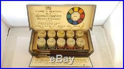 Vintage Winsor & Newton Artist's Watercolour Set Glass Jars Original Box 6 Brush