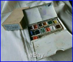 Vintage Winsor & Newton Black Japanned Box Watercolour Paints Original Packaging