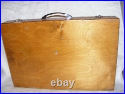 Vintage Wooden Artist Painters Wooden Box, Brushes, Oils, Palette, Oil Paints