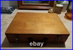 Vintage Wooden Artist's Portable Carrying Travel Box