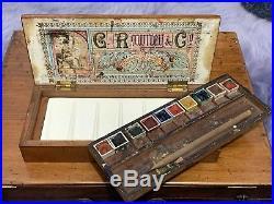 Vintage Wooden Rowney Watercolour Box Painting Paint Art