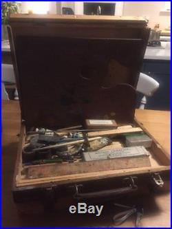Vintage Wooden paint box Pochade Winsor Newton Reeves Etc