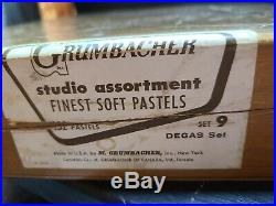 Vintage grumbacher soft pastels 132 count box set no. 9 Degas studio assortment