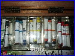 Vtg Wooden Artists' Paint & Supply Box Brushes Palette Paints Grumbacher Winton