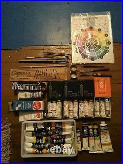 Vtg pre tested Grumbacher oil paint color set 48 brush lot box nocase pre tested
