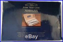 WINSOR & NEWTON Artists' Water Colour Wooden Box 12 Half PAN Painting SET