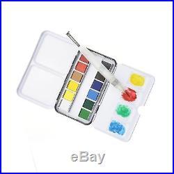 Watercolor Paint Set With 12 Half Pan Colors Pocket Travel Box Water Brush Pa