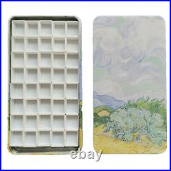 Wheat field Empty watercolor palette paint tin box with 40 half pans
