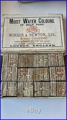 Winsor & Newton LTD Moist Water Colour in Half Pans Watercolor Box Sets Vintage