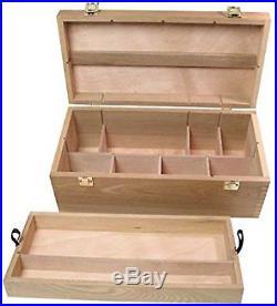 Wood Box Supply Chest Art Craft Tools Storage Organizer Artist Cabinet Toolbox